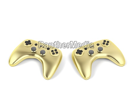 two golden game controllers