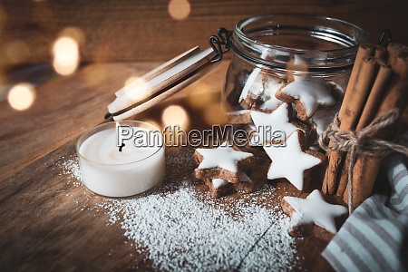 christmas still life with cinnamon stars