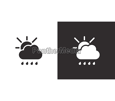 raindrops cloud and sun isolated icon