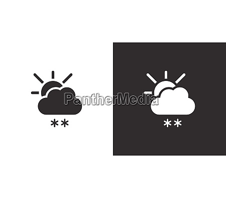 snow cloud and sun isolated icon