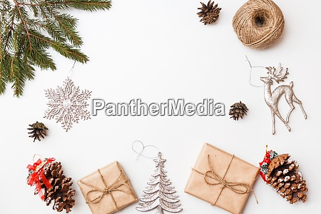 christmas gift boxes and decorations flat