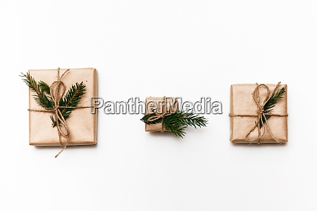 three vintage gift boxes with spruce