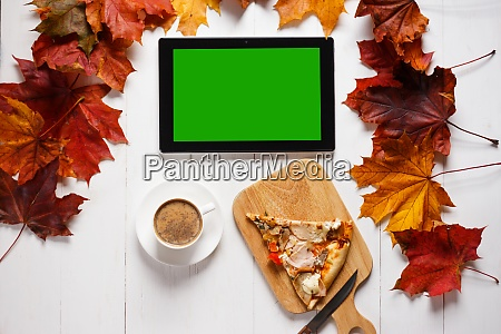 workplace in autumn style concept tablet