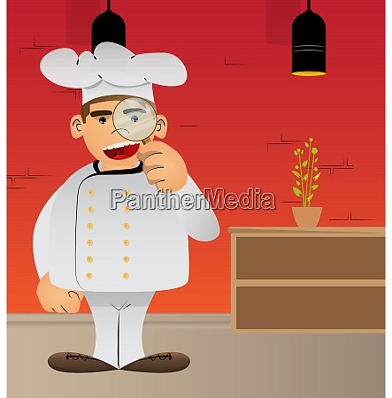 chef in uniform holding a magnifying