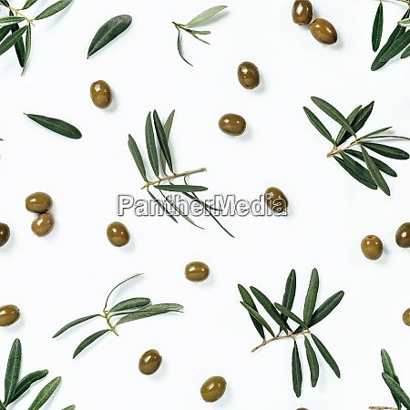 seamless pattern with green olive and