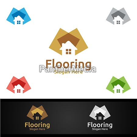 flooring logo for parquet wooden or