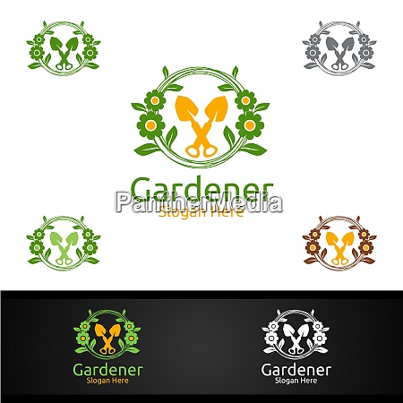 botanical gardener logo with green garden