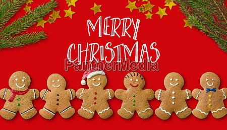 a christmas card with gingerbread men