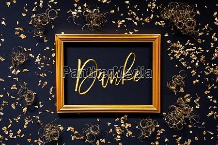 frame golden glitter christmas decoration danke
