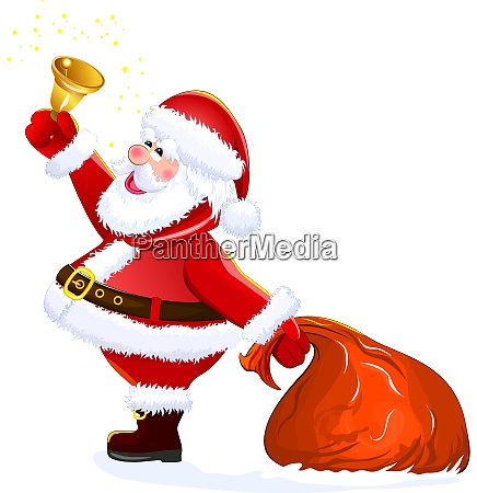 santa with sack and bell