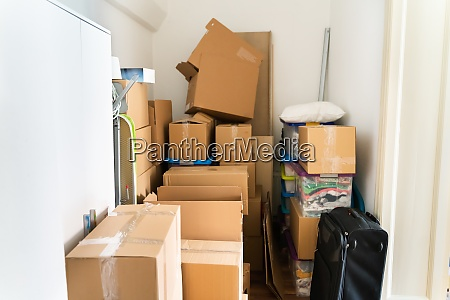 parcel storage room with shipping boxes