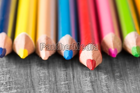 colored pencils very shallow dof
