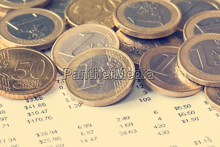 pile of euro coin on financial