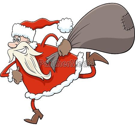 running santa claus christmas character with