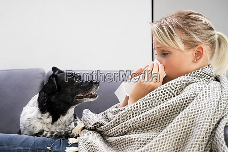 sick woman with flu infection at