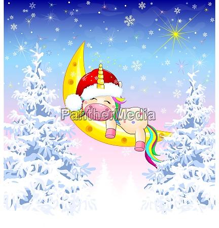 unicorn winter forest christmas