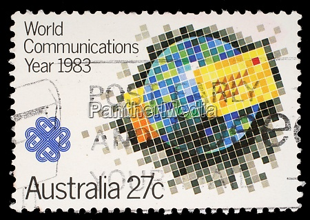 stamp printed by australia shows world