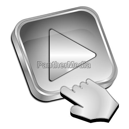 silver play button with cursor