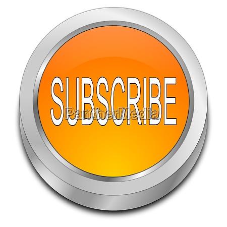 orange subscribe button 3d illustration