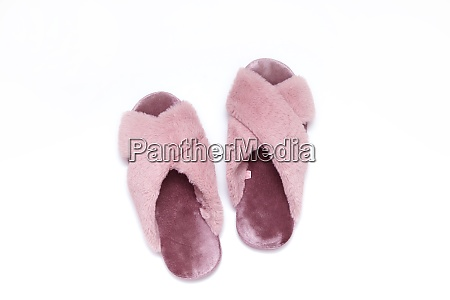 furry pink womens slippers top view