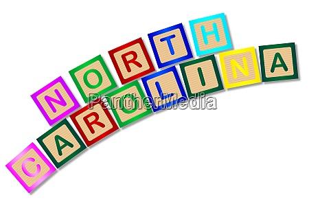 north carolina wooden block letters