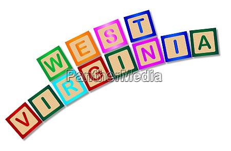 west virginia wooden block letters