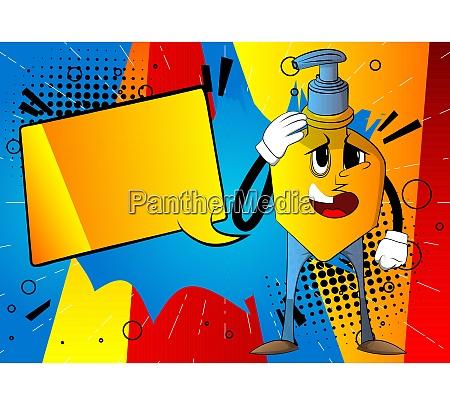 bottle of hand sanitizer gel placing