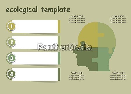 ecological infographics showing puzzle head and