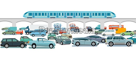 express train and cars on the