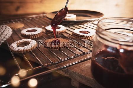 baking traditional linzer cookies