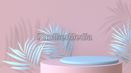 abstract mock up podium with blue