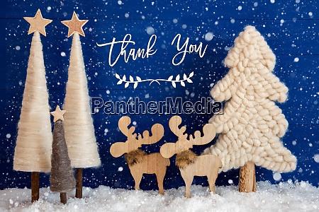 christmas tree moose snow text thank