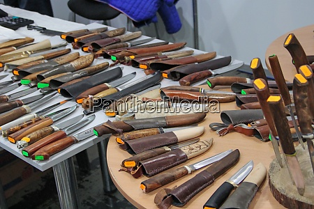 knives for hunters at exhibition steel