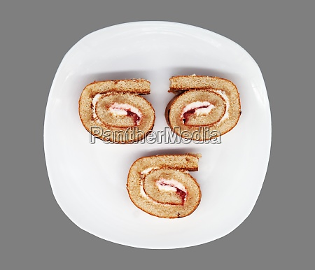 sliced roll on a plate