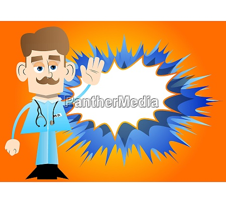 doctor with waving hand