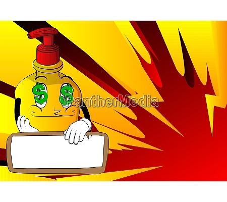 hand sanitizer gel holding blank paper