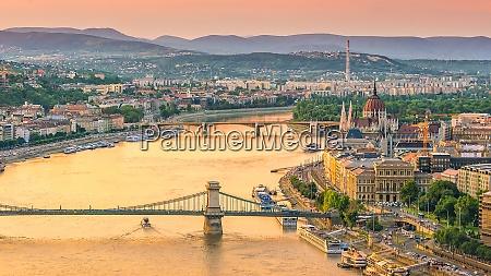 budapest skyline in hungary