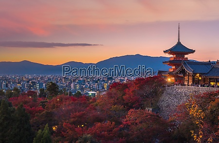 autumn color of kyoto skyline and