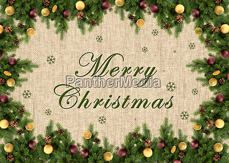 merry christmas text on jute background