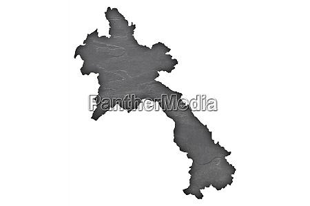 map of laos on dark slate