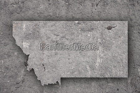 map of montana on weathered concrete