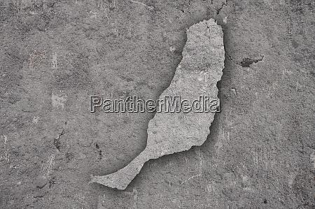 map of fuerteventura on weathered concrete