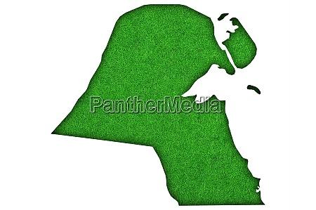 map of kuwait on green felt