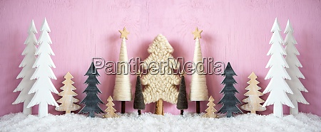 banner christmas trees snow pink grungy
