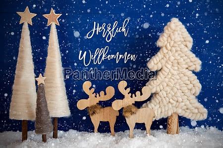 christmas tree moose snow herzlich willkommen