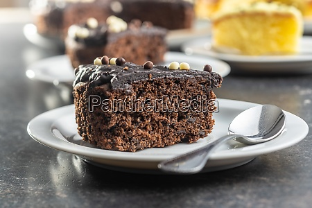 piece of chocolate cake on dessert