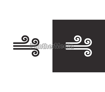 wind isolated icon on black and