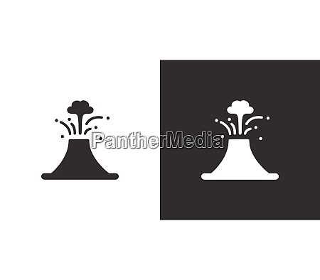 volcano isolated icon on black and