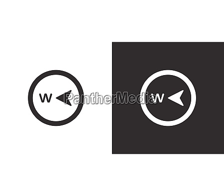 west direction compass isolated icon on