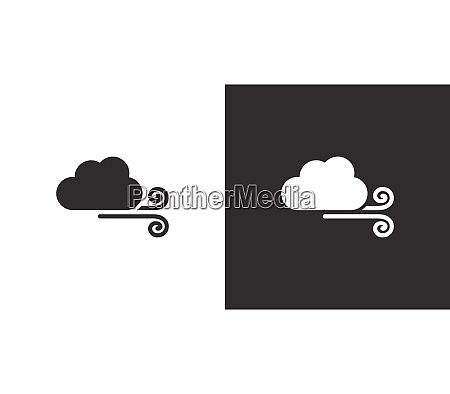 wind and cloud isolated icon on